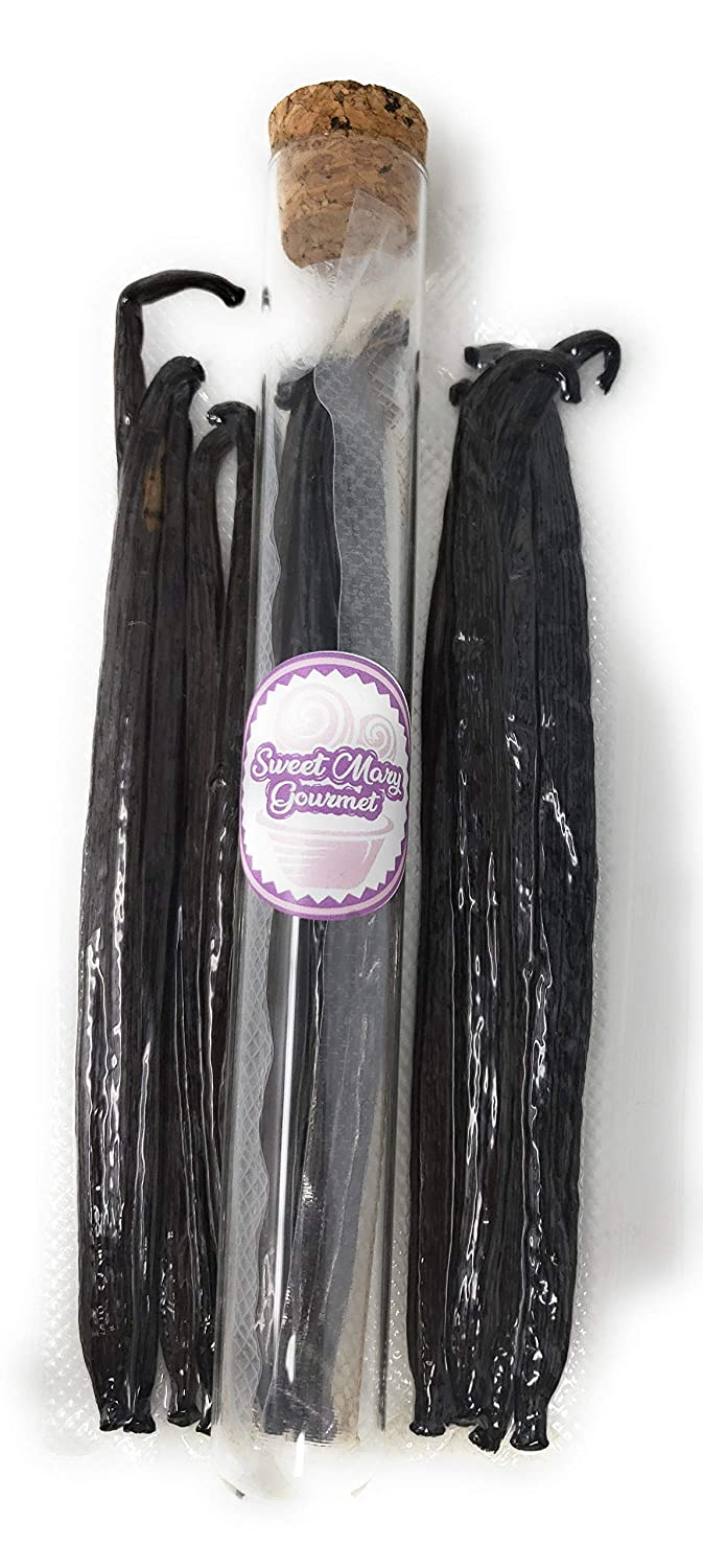 Sweet Mary Gourmet Tahitian Vanilla Beans – Pack of 5 Real Vanilla Pods – Non-GMO Whole Gourmet Pure Vanilla Beans Grade A – Vacuum Sealed and one Glass Tube & Cork (Gift)– 5-7 Inch Indonesian Beans