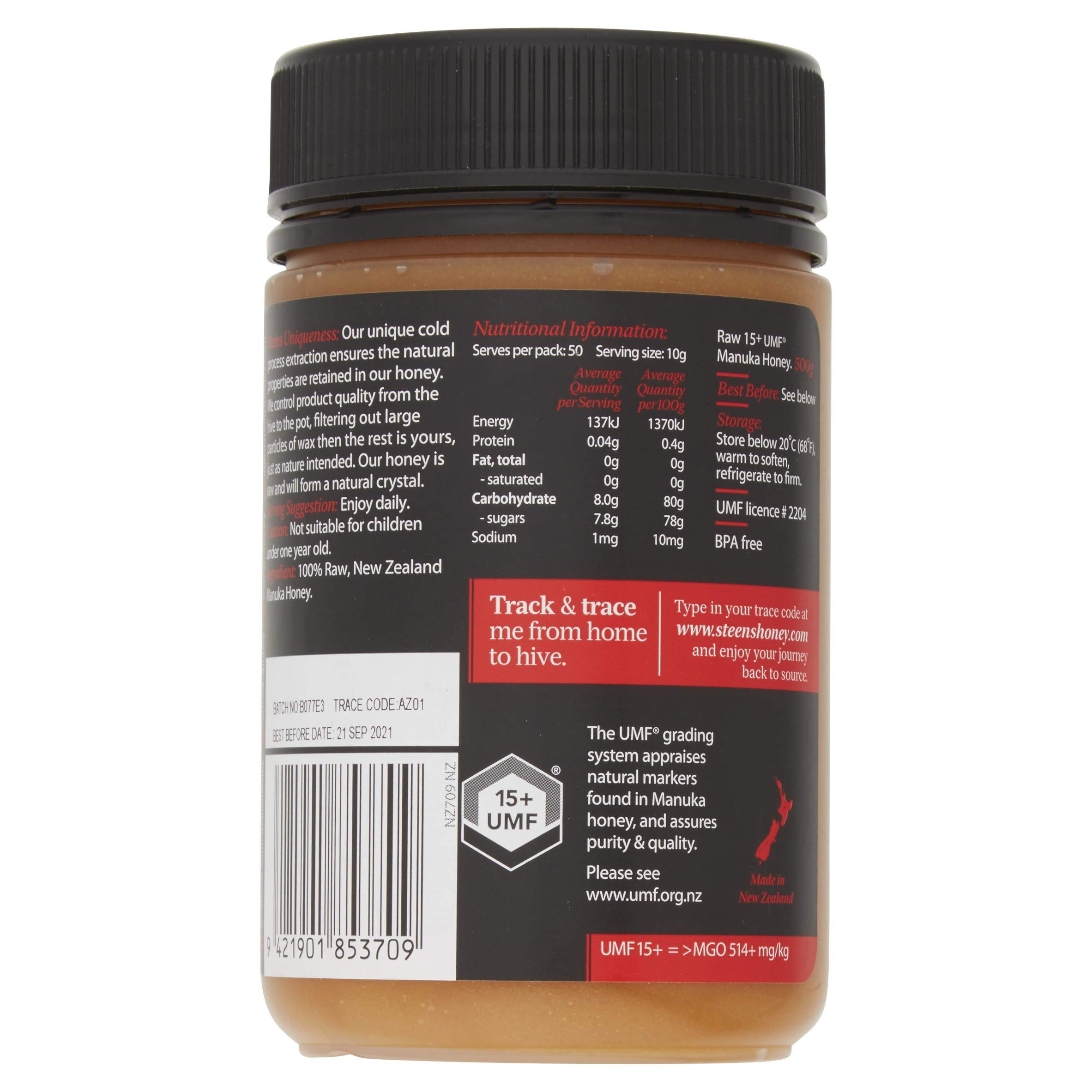 Steens Manuka Honey UMF 15 (MGO 514) 17.6 Ounce jar   Pure Raw Unpasteurized Honey From New Zealand NZ   Traceability Code on Each Label by Steens (Image #3)