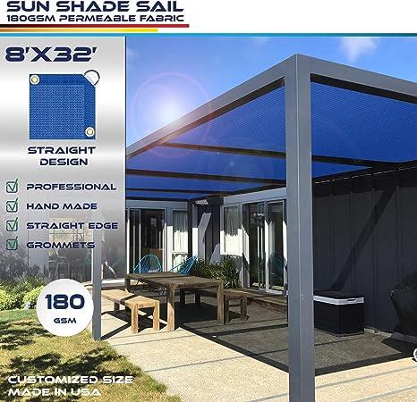 Windscreen4less toldo de borde recto, rectangular al aire libre gamuza de Shade Pergola carcasa UV bloque tela