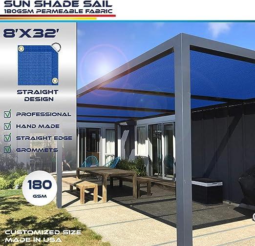 Windscreen4less toldo de borde recto, rectangular al aire libre gamuza de Shade Pergola carcasa UV bloque tela: Amazon.es: Jardín