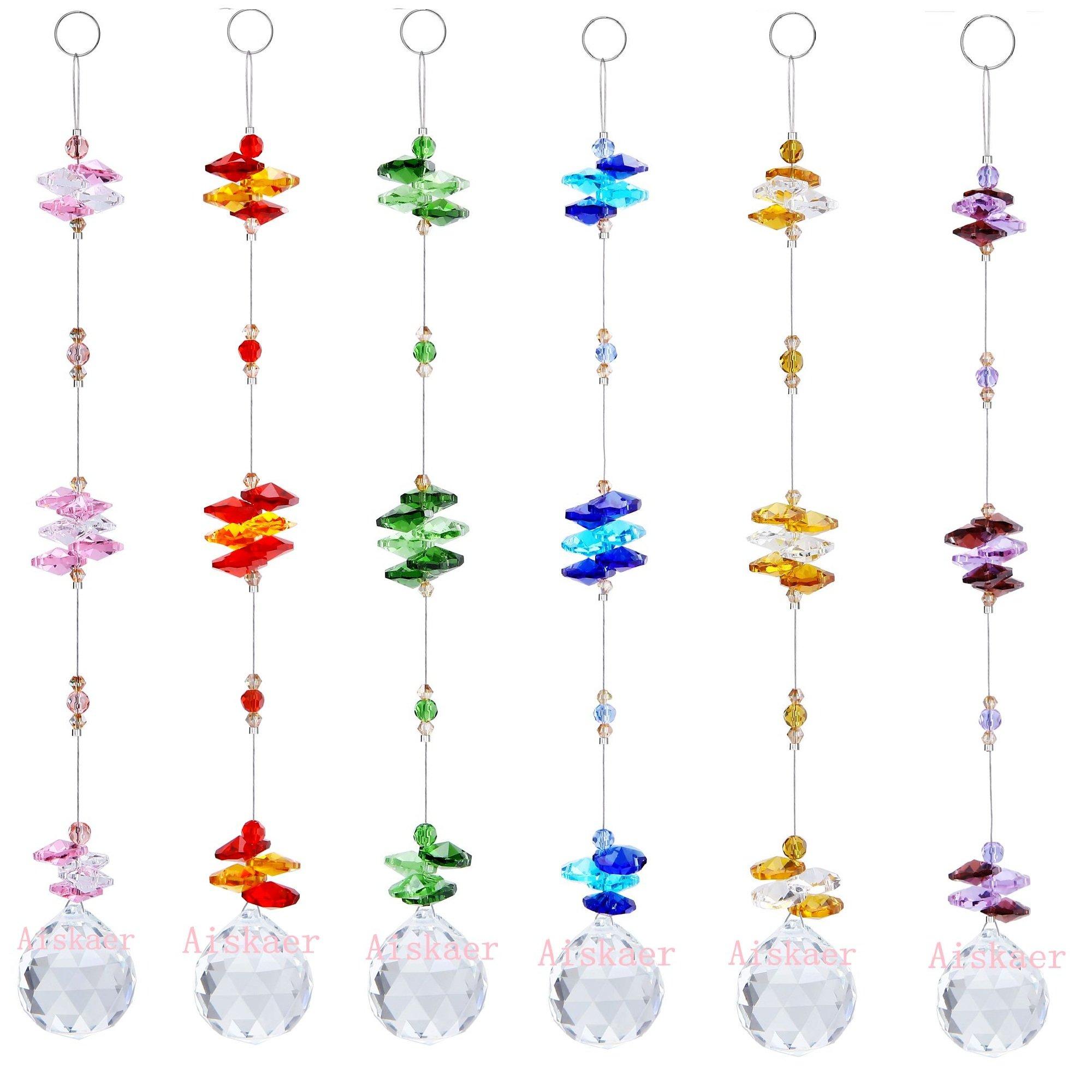 Aiskaer 6PCS 1.2 Inch Colorful Chandelier Crystal Ball Prisms Pendant, Chandelier Decor Hanging Prism Ornaments,Chandelier Crystals Ball window Prisms Rainbow Octogon Chakra Suncatcher