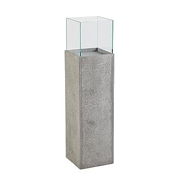 Deko Säule aus Faserzement mit Glasaufsatz: Amazon.de: Garten