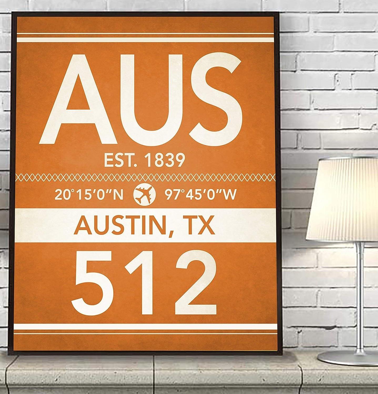 Amazon Com Austin Texas Vintage Airport Area Code Map Coordinates