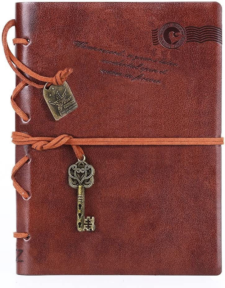 Leather Writing Journal Notebook, EvZ 7 Inches Key Bound Retro Vintage Notebook Diary Sketchbook Gifts with Unlined Travel Journals to Write in for Girls and Boys Notepad Guest Book, Dark Coffee