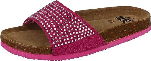 Ladies Slip On Diamante Metallic Sparkly Summer Flat Sandals Sliders Shoes