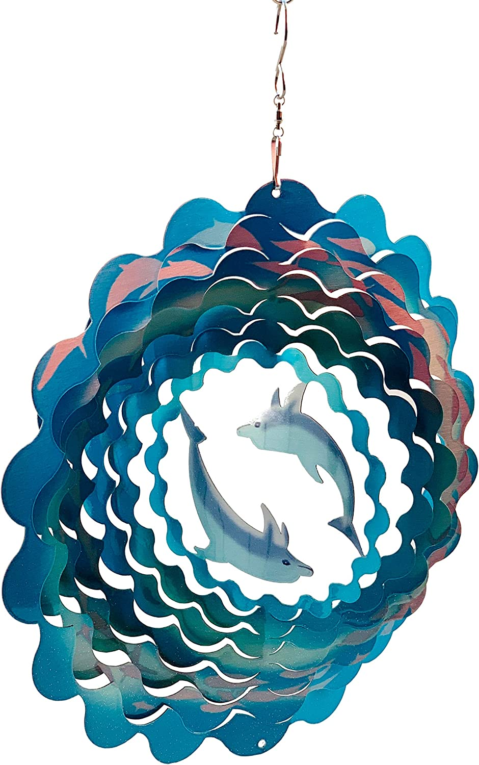 Dundee Deco W2344 Wind Spinner in Gift Box - 3D Hanging Indoor Outdoor Yard Garden Decoration - Mandala - Dolphins - Teal, Blue - 12 inch - Unique Gift Idea for Men Women, Souvenir, Present