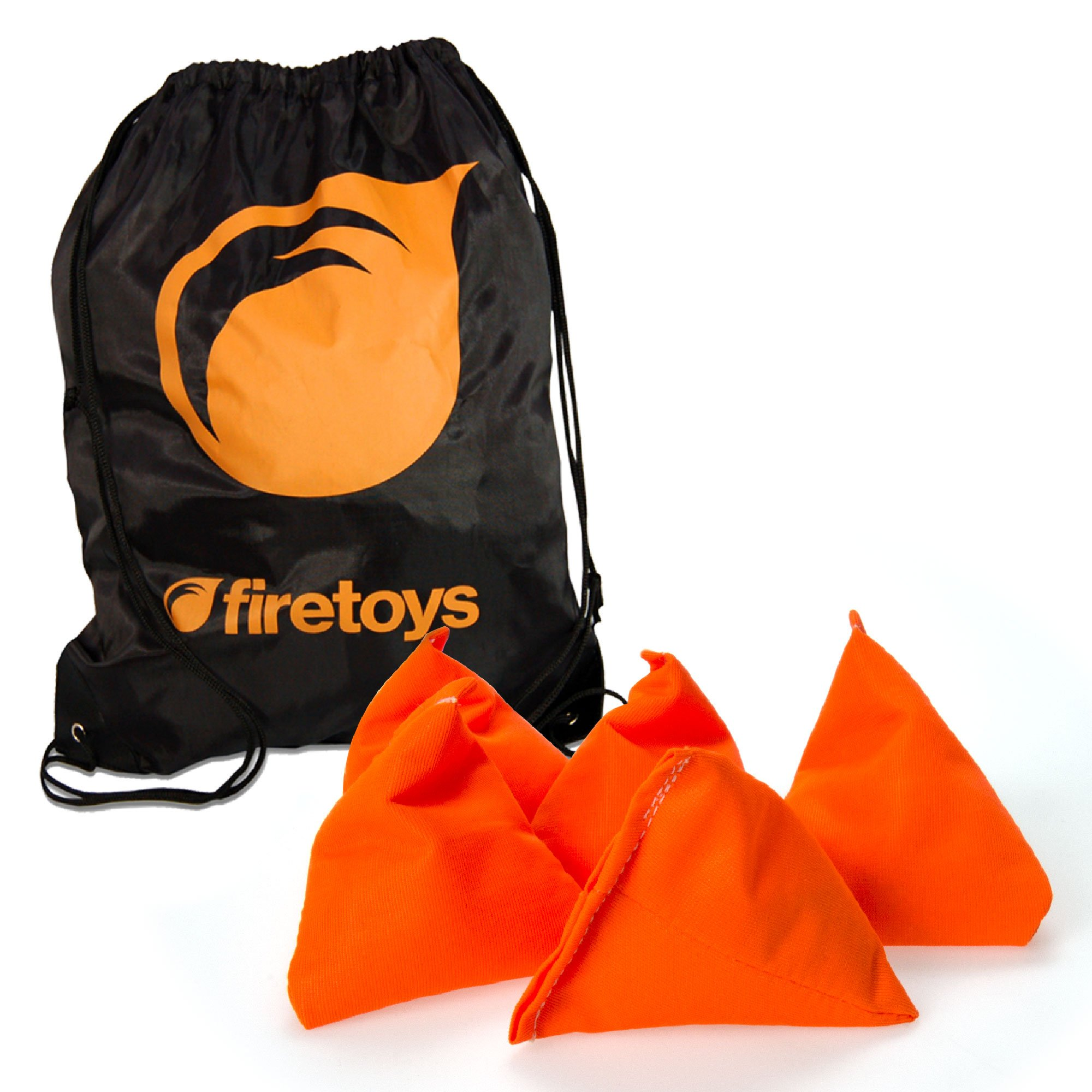 Firetoys Tri-Its UV Juggling Beanbag Set - 5x UV Orange Juggling Pyramids Bag