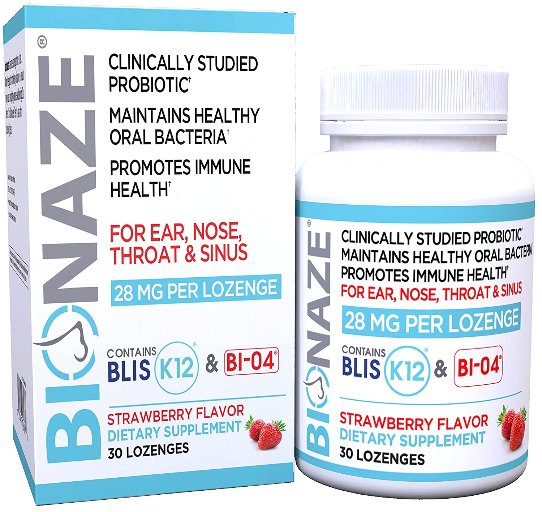 Bionaze Sinus Probiotic w/Proven Blis K12 & BL-04 for Sinus, Throat and  Breath, Powerful 90 Billion