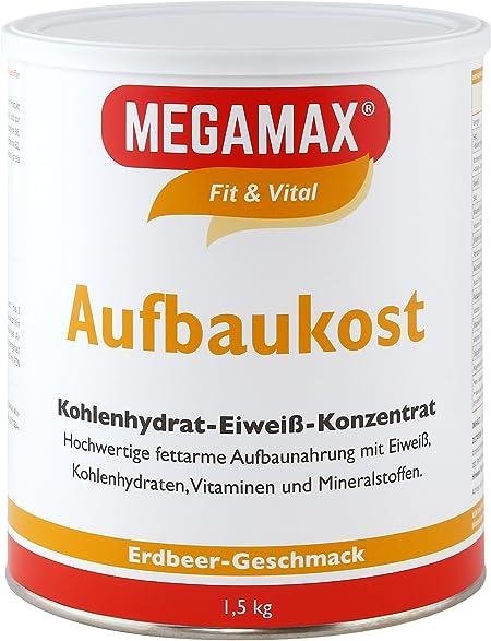 MEGAMAX - Aufbaukost - Suplemento para ganar peso y masa muscular - Fresa - Solo un 0,5% de grasa - 1,5 kg