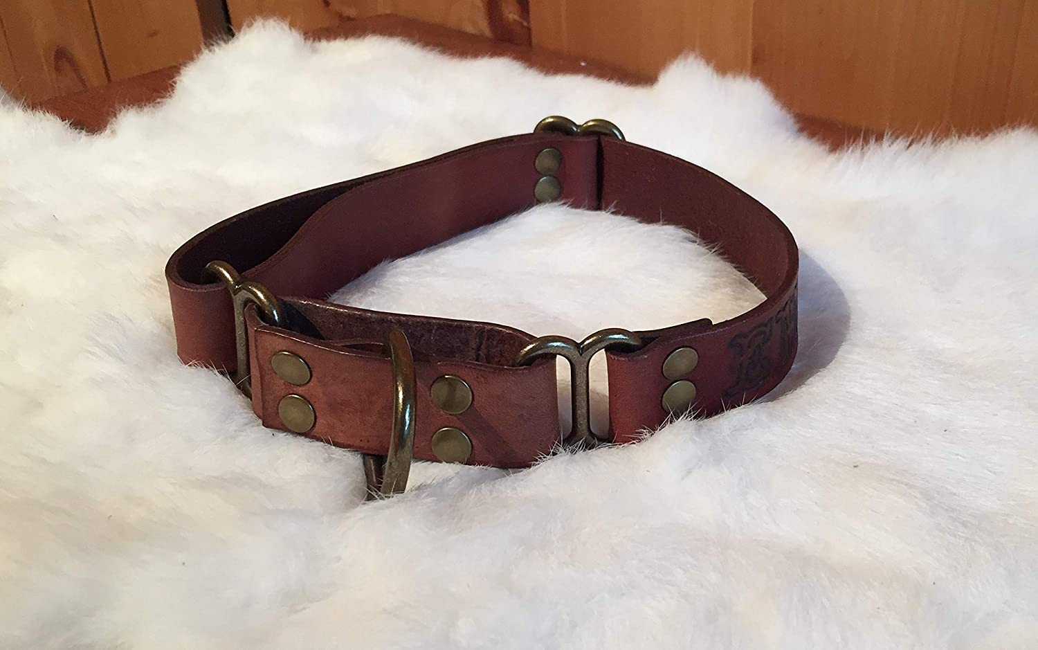 Personalized Brown Leather Martingale Dog Collar With Name