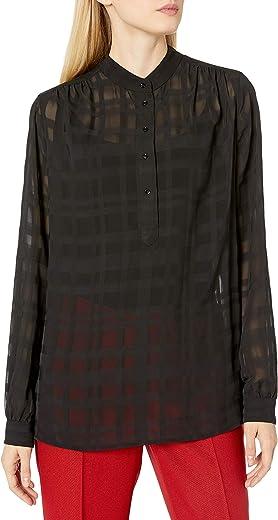 Anne Klein Women's Sheer Check Long Sleeve Blouse