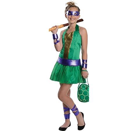 Amazon Com Teenage Mutant Ninja Turtles Sassy Tween Girl S Donatello Costume Small Toys Games