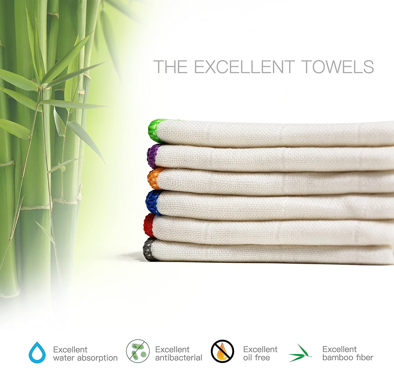100% Bamboo Kitchen Dish Cloths (6 Pack) White Washcloths Dish Towels, Cleaning Cloths & Dish Rags(12 x 12 Inch), Ultra Absorbent Better Than Cotton BONDRE