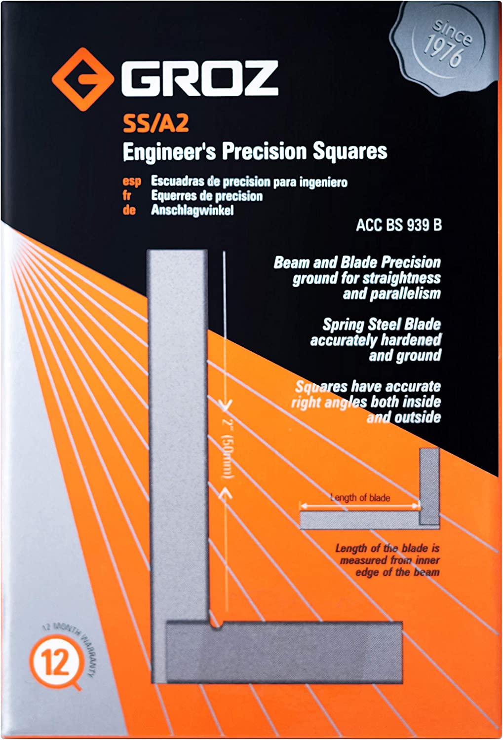 16 Micron Squareness #01000 Groz 2-inch Machinist Steel Square