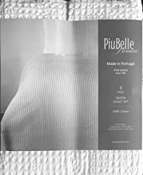 Piubelle Portugal Waffle Textured King Duvet Comforter Quilt Cover 3pc Set Cotton Solid White Shabby Chic
