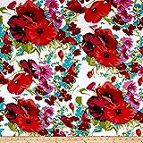 Telio Dakota Stretch Rayon Jersey Knit Floral Print Poppy White Fabric By The Yard