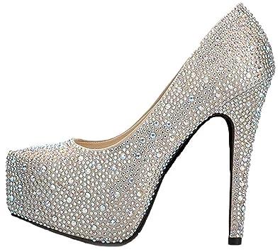 Reinhar Stone Wedding Platforms High Heels Bridal Shoe Prom Party Pumps