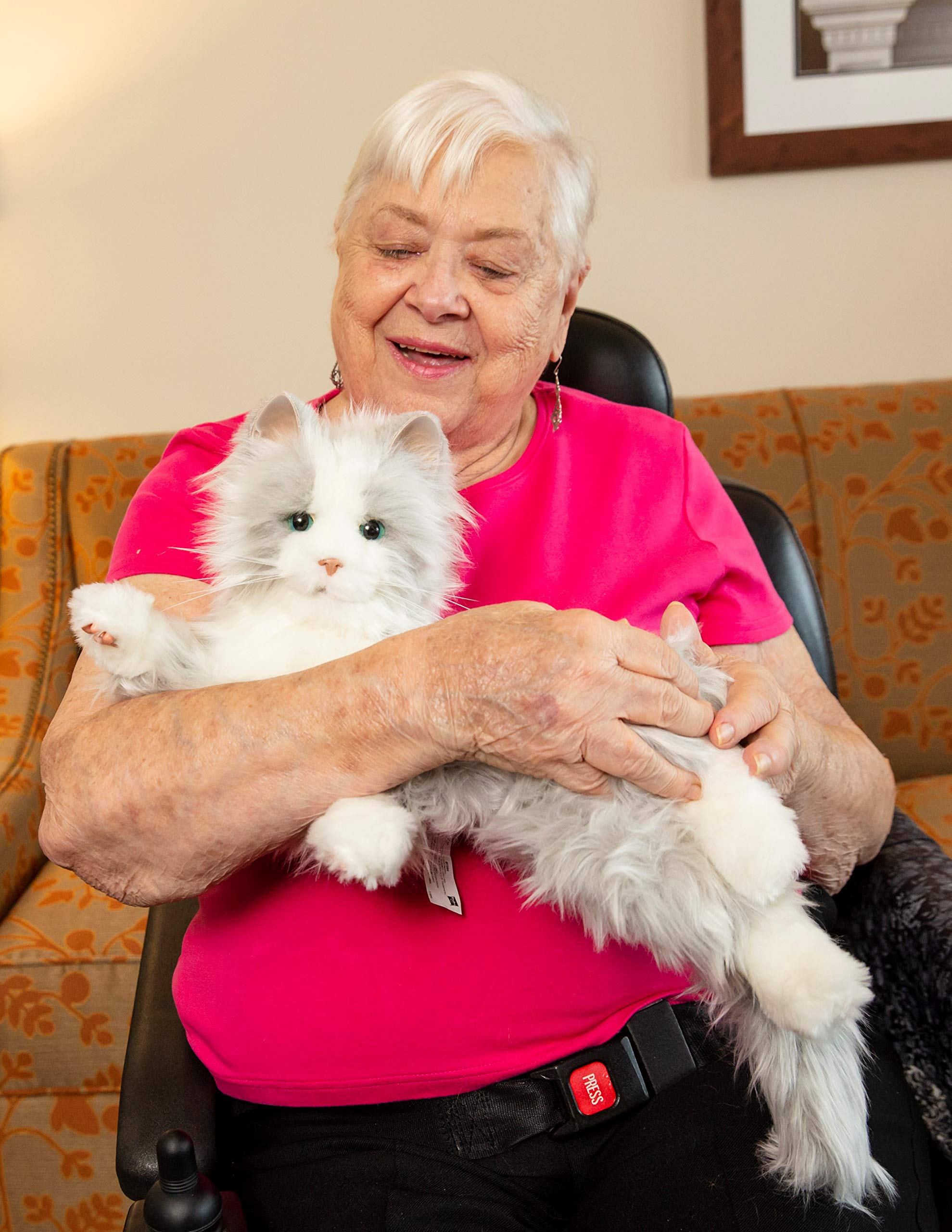 Joy for All Robotic Reclining Silver Grey Cat - for Ages 2 to 102 by Memorable Pets (Image #1)