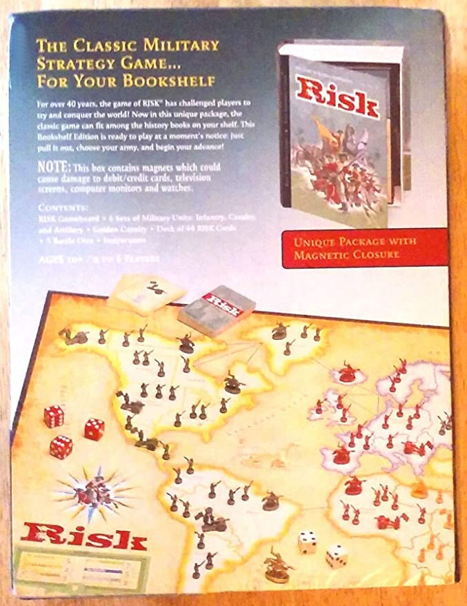 RISK- THE GAME OF GLOBAL DOMINATION (BOOK-SHELF EDITION), FOR OVER 40 YEARS (DESIGNED IN A COLOR BOOK-SHAPED BOX, THAT SITS SPINE OUT ON MOST BOOK SHELVES- 2-6 PLAYERS (9 YRS.-UP) by HASBRO: