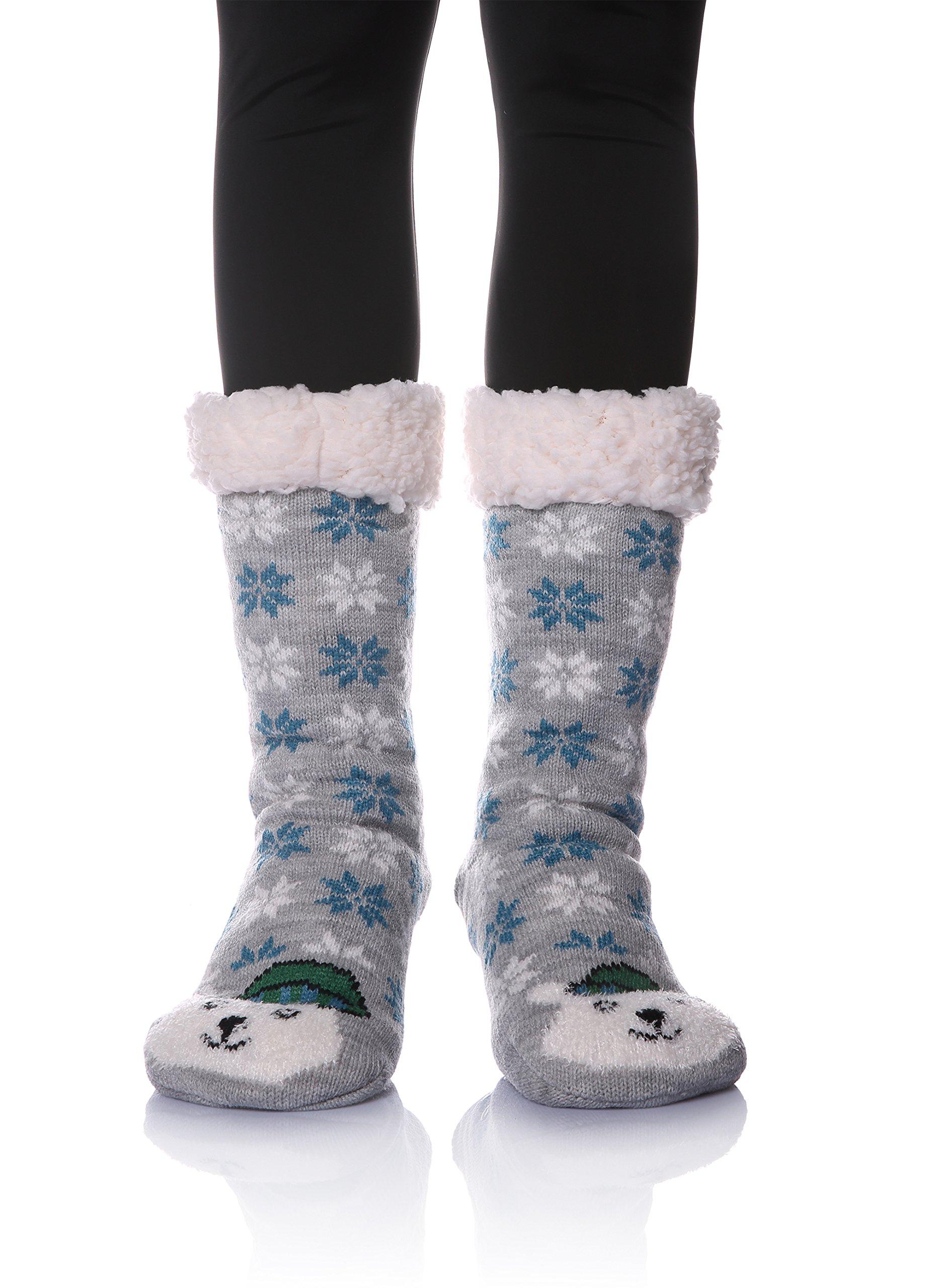 MENTIANA Womens Super Soft Warm Cozy Fuzzy Fleece Lined Animal Winter Non Slip Christmas Gift Slipper Socks (Bear)