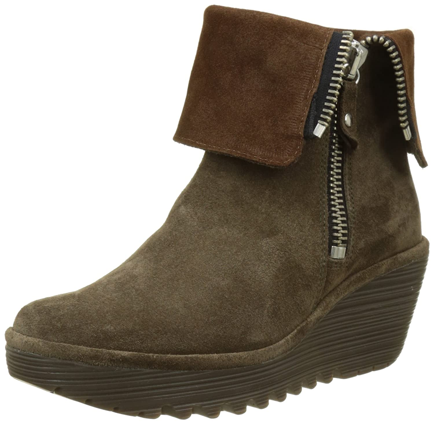 FLY London Yex668fly - Botas Mujer35 EU|Marrón (Sludge/Camel)