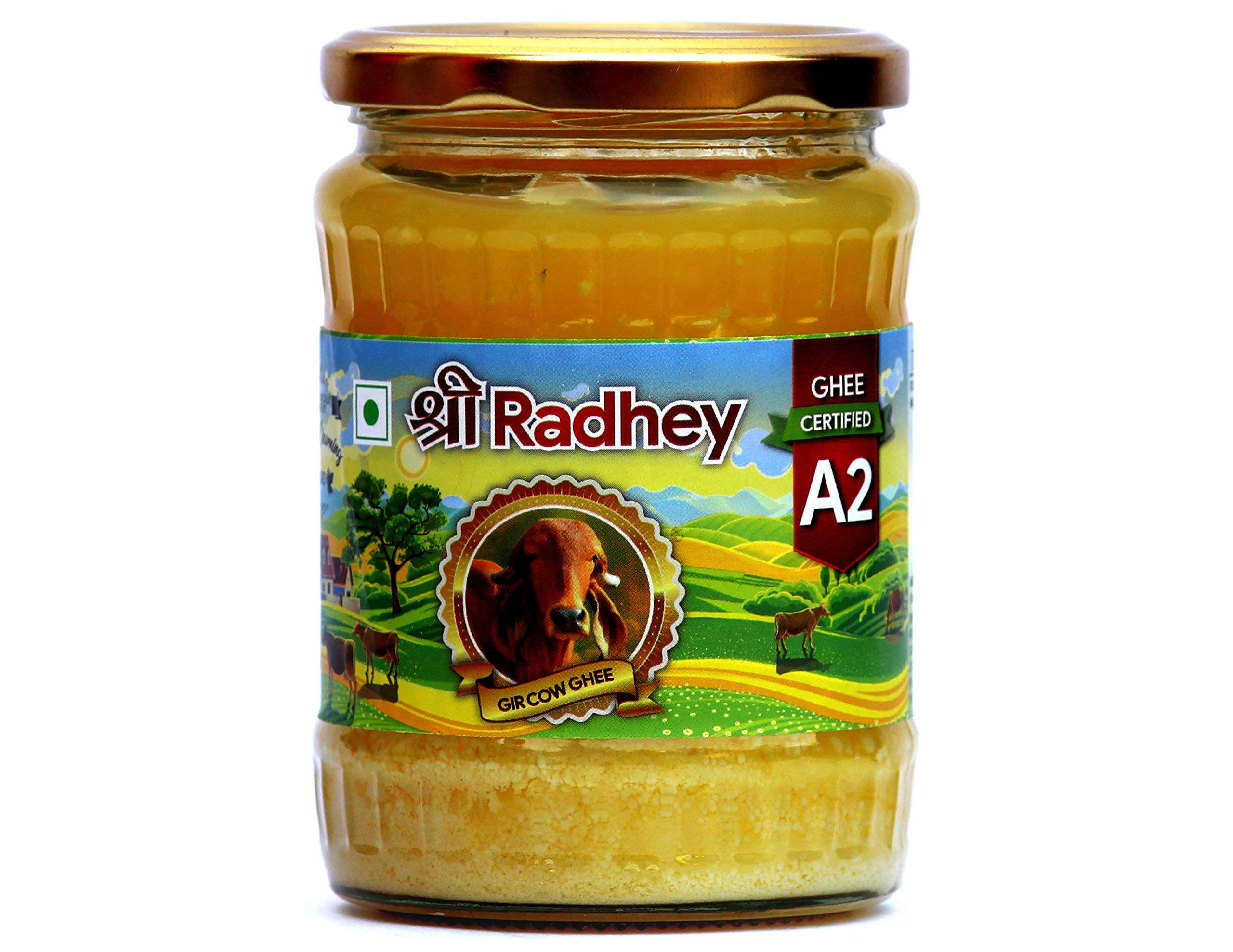 Shree Radhey Certified A2 Gir Cow Ghee - Clarified Butter - 100 % Grass Fed- (Traditionaly Churned) 14 oz (400 gm))