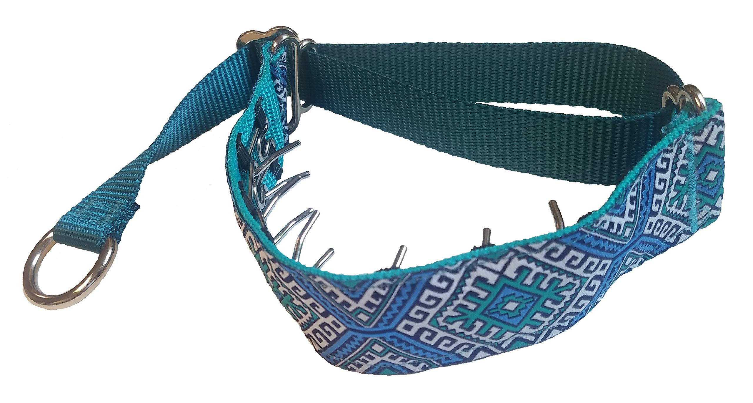 Lola's Limited Secret Powers Training Collar (2.3 mm, 6 prongs; Short Fur, 14''-16'' Neck) (2.3mm, 6prong, Small, Teal Houndstooth) by Lola's Limited