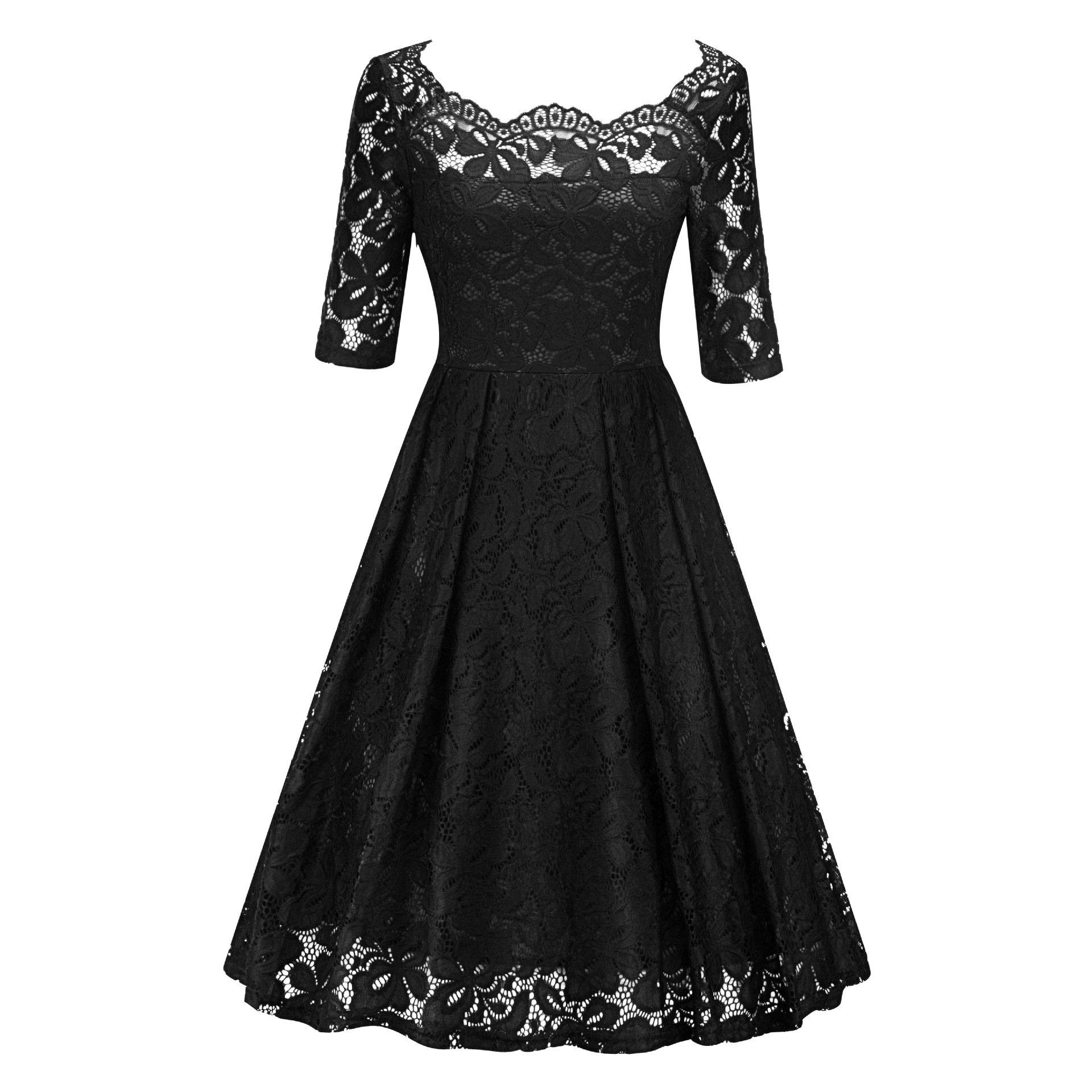 DINGTOOL Women's Vintage Floral Lace Dress Bodycon Bridesmaid Cocktail Party Wedding Formal Swing Dress (Black, L)