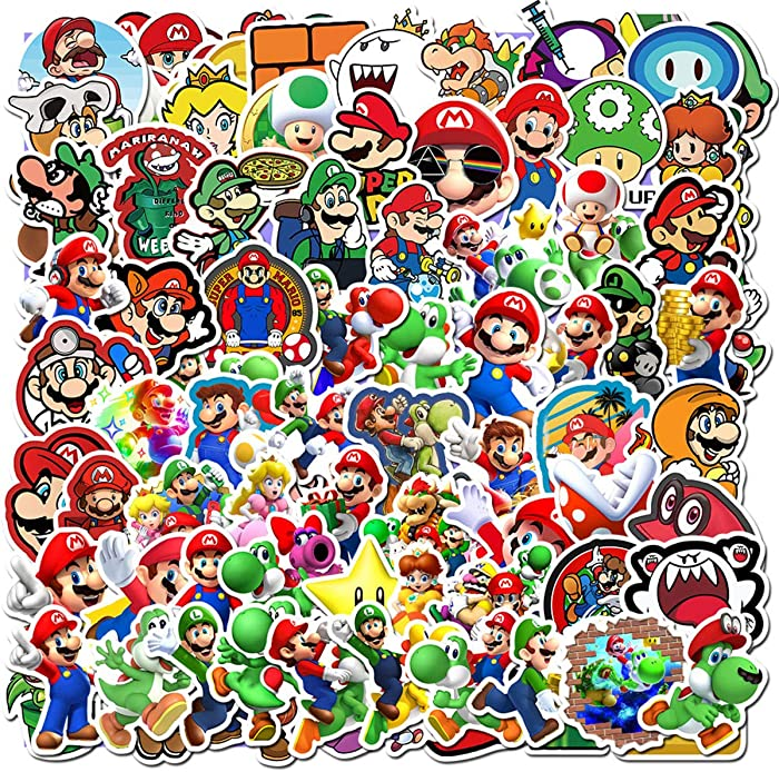 100Pack Super Mario Bros Stickers Set Random Sticker Decals for Water Bottle Laptop Cellphone Bicycle Motorcycle Car Bumper Luggage Travel Case. Etc (Super Mario Bros)
