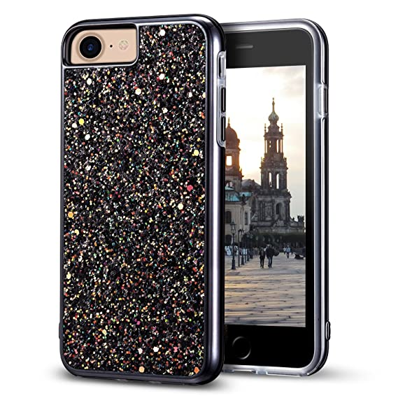 new arrival 68ac2 19cf7 iPhone 7 Glitter Case, iPhone 8 Case, MIRACASE Bling Sparkle Dual Layer  Hard PC Cover Soft TPU Inner Shockproof Glitter Case for iPhone 7/8 / 6 /6S  ...