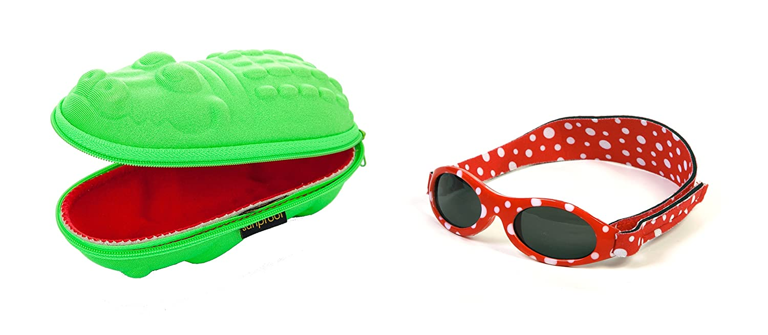 Baby Gift pack Sunglasses case Green Crocodile and Babybanz Red Dot Sunglasses 0-2 years Yoccoes 0202/croc-01A/ARD