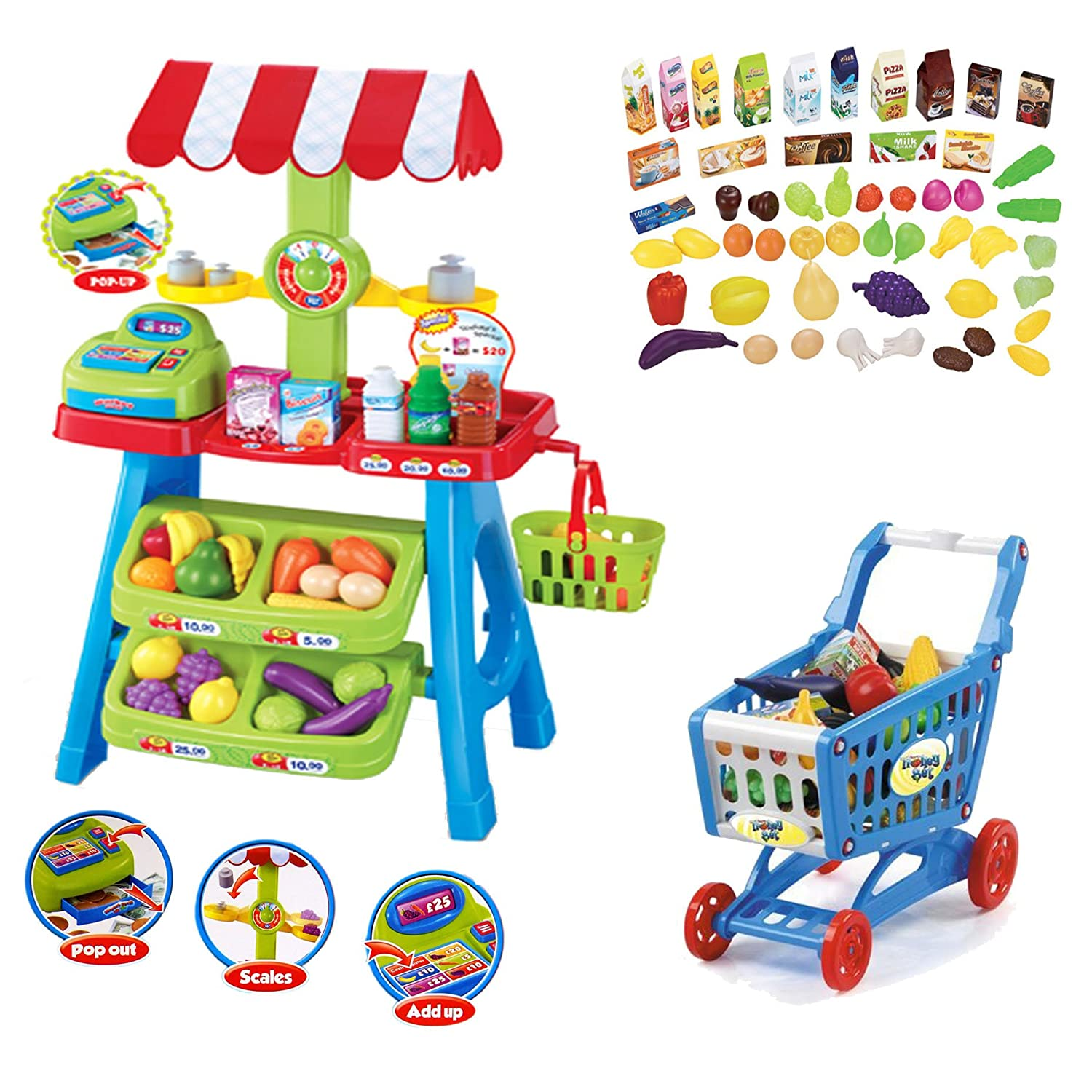 deAO Kids Market Stall Toy Shop With Shopping Trolley And Play