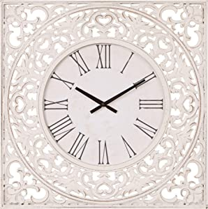 "24"" Distressed White Ornate Wood Carved Wall Clock"