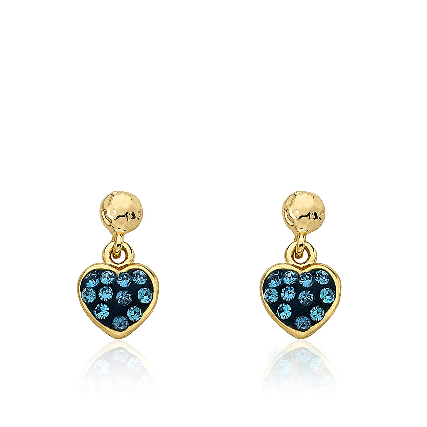 Molly Glitz Heart of Jewels 14k Gold-Plated Blue Crystal Heart Dangle Earring