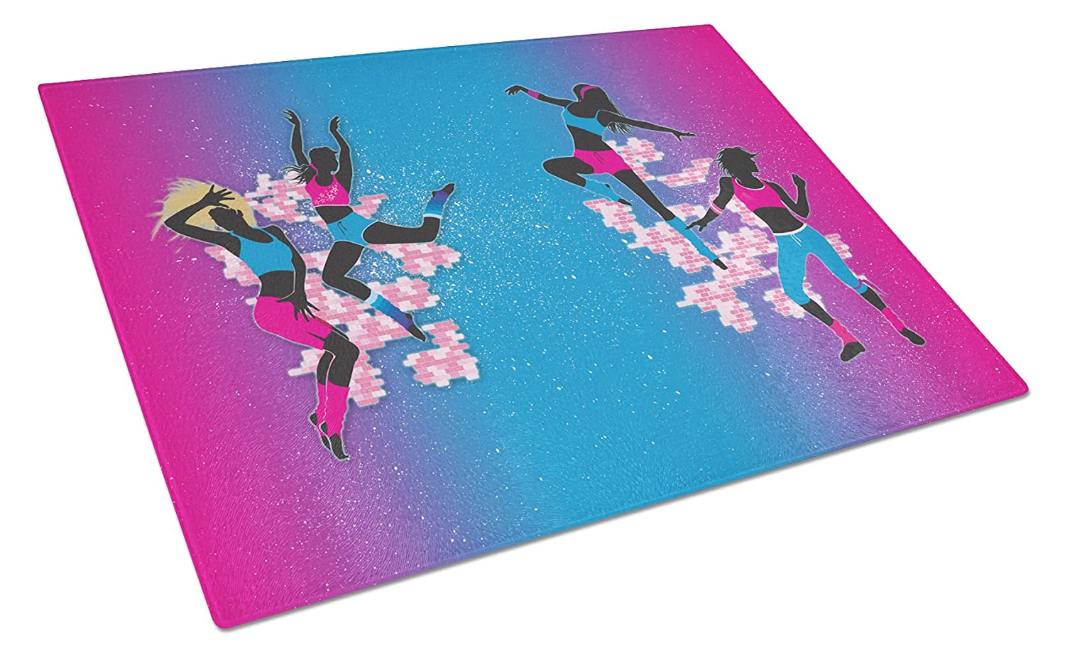 Multicolor Carolines Treasures Hip Hop In Pink Blue Glass Cutting Board Large