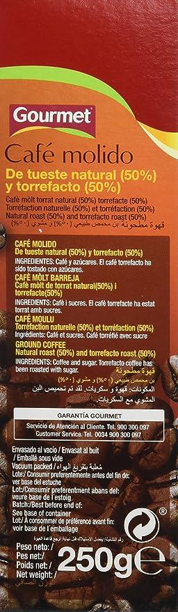 Gourmet Café Molido Mezcla Tueste Natural Y Torrefacto - 250 g: Amazon.es: Amazon Pantry