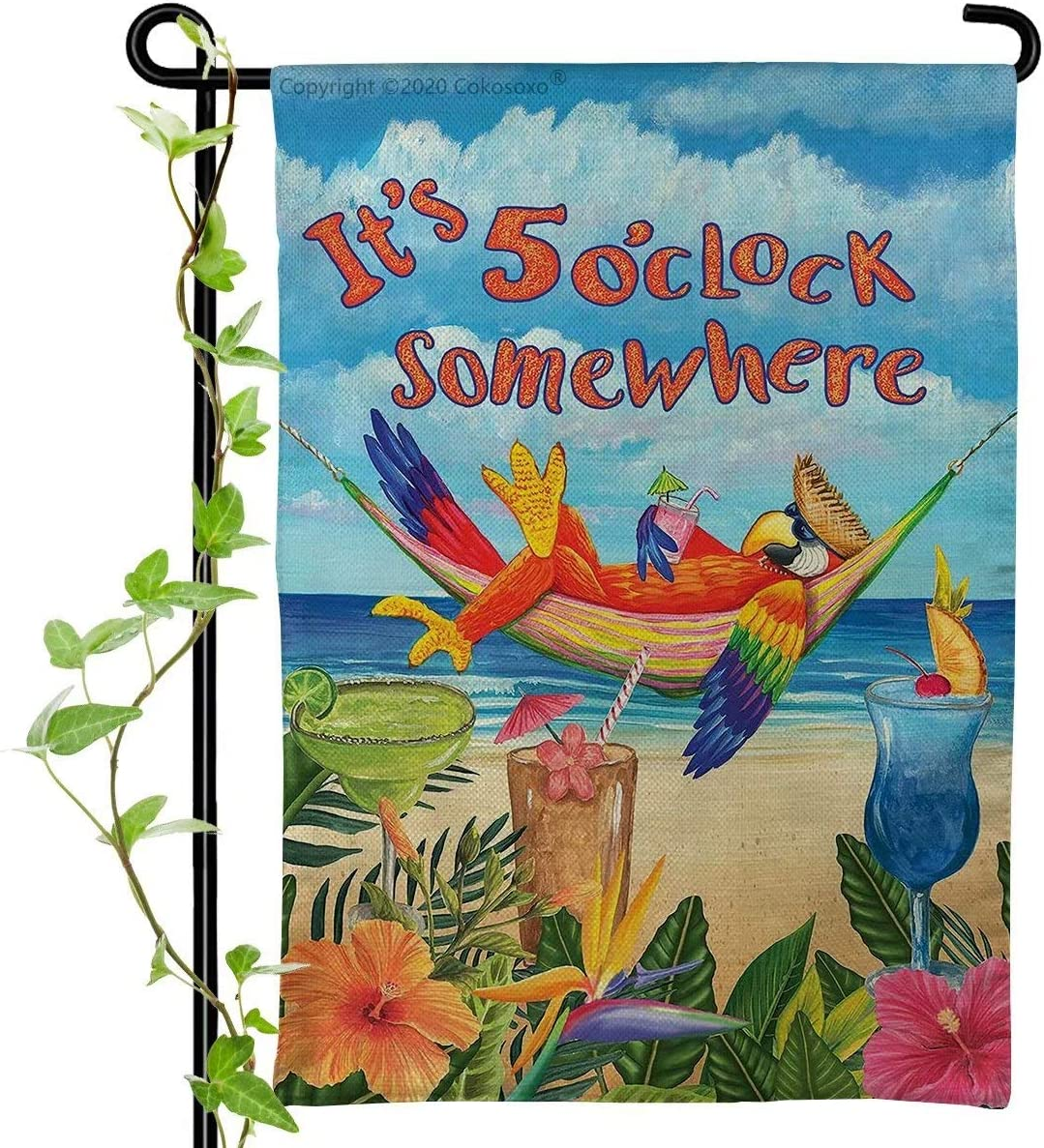 Cokosoxo Garden Flag - It's 5 O'clock Somewhere - Parrot Tropical Flowers Beach Ocean Summer Yard Flags for Outside Home House Lawn Patio Outdoor Decorations