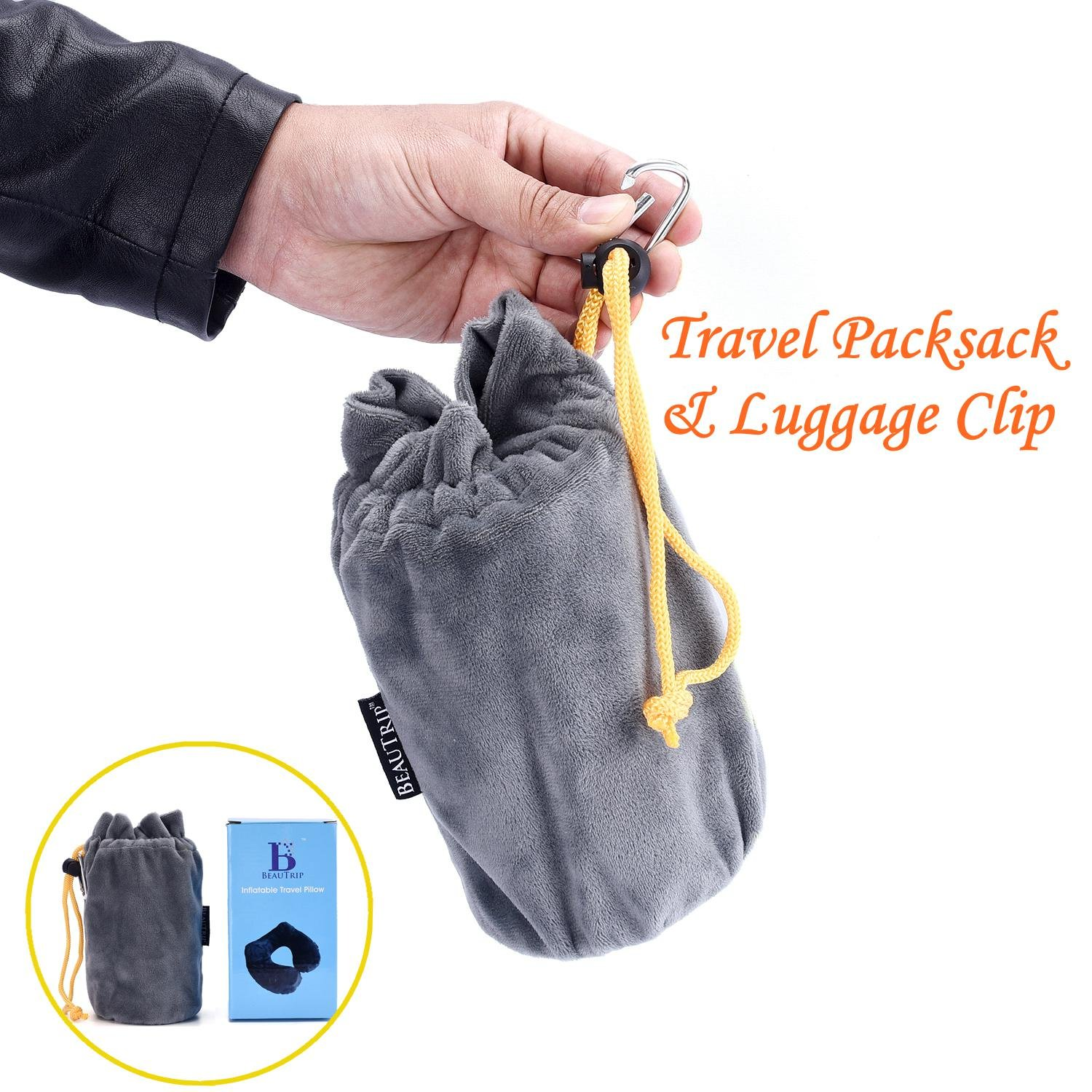 Hawkko Travel Pillow Push-Button Inflatable U Shaped Neck Pillow for Neck Support on Airplanes with Travel Packsack and Luggage Clip Black