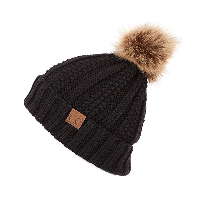 247e9437f10 C.C Exclusives Fuzzy Lined Knit Fur Pom Beanie Hat (YJ-820) (Black ...