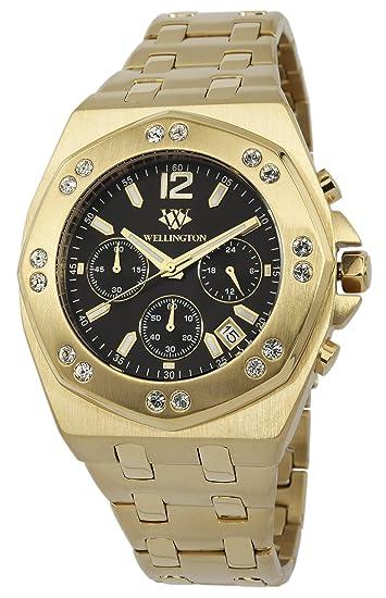 Wellington WN511-229 - Reloj analógico de cuarzo para hombre con correa de acero inoxidable, color dorado: Amazon.es: Relojes