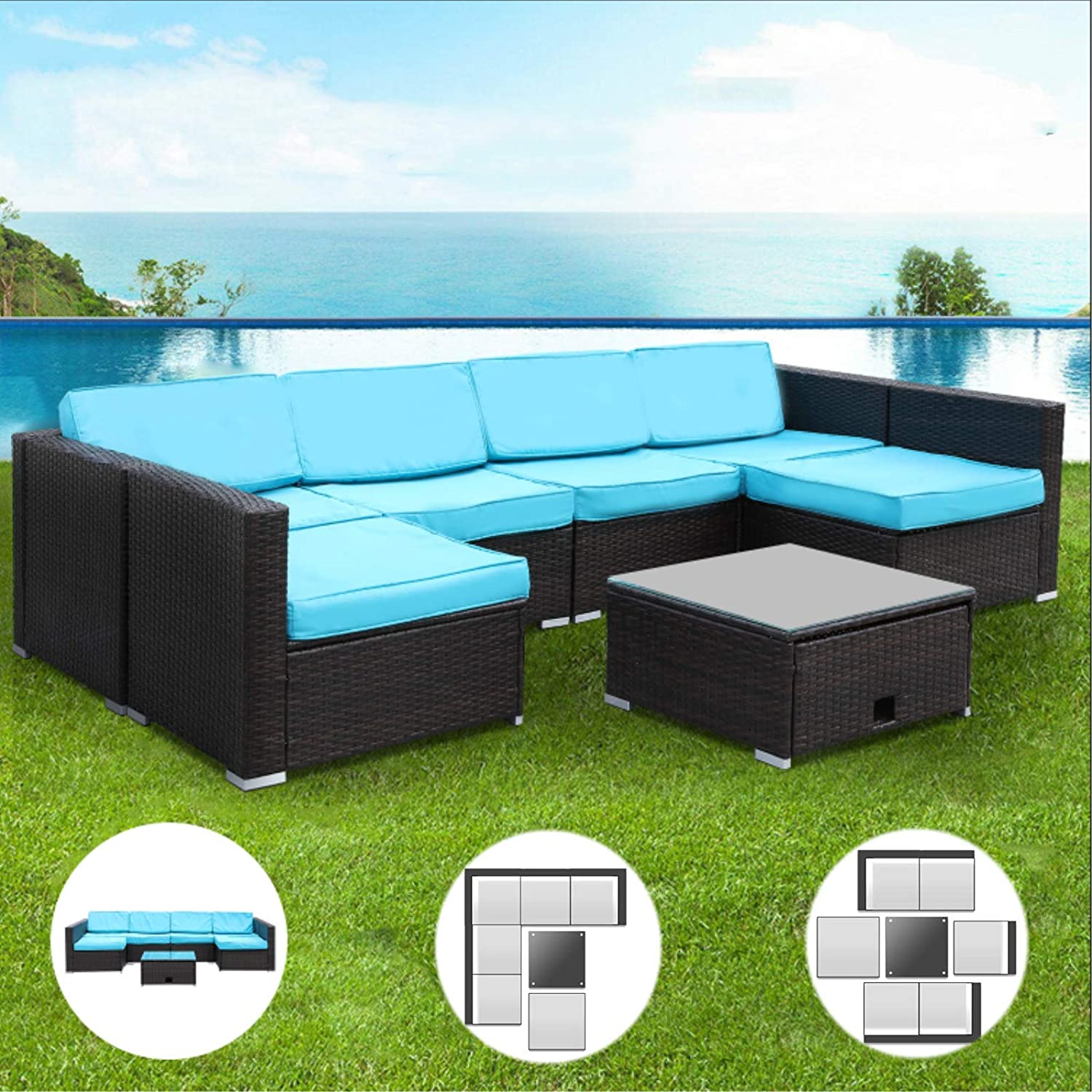 Streakboard 7PCS Patio Furniture Set, All-Weather PE Rattan Sectional Sofa, Outdoor Woven Wicker Chair Conversation Set with Washable Cushion and Tempered-Glass Coffee Table, for Garden, Poolside