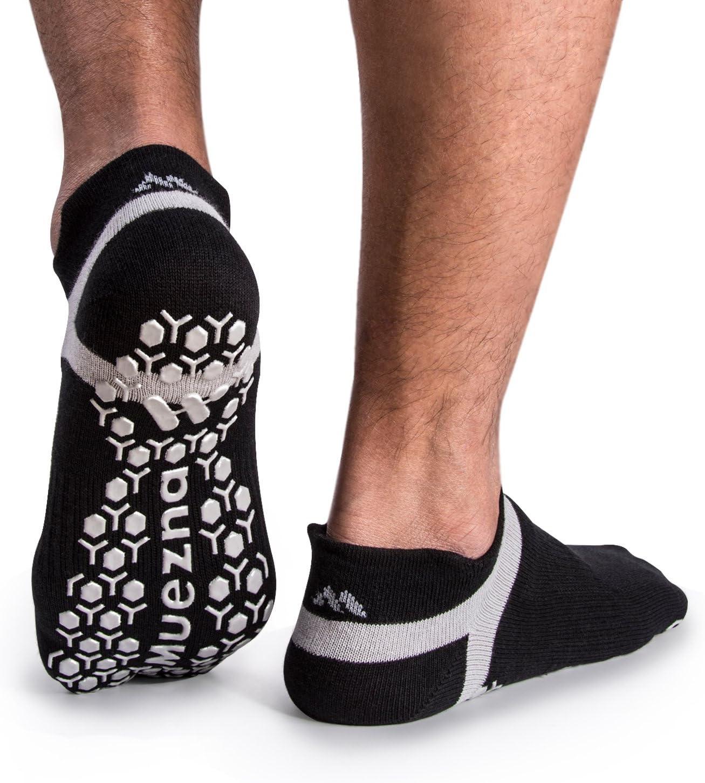 Muezna Mens Non-Slip Yoga Socks, Anti-Skid Pilates, Barre, Bikram Fitness Hospital Slipper Socks with Grips