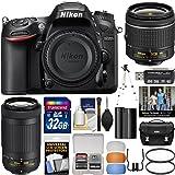 Nikon D7200 Digital SLR Camera with 18-55mm VR and 70-300mm DX AF-P Lenses & Case + 32GB Card + Battery + Tripod + Kit