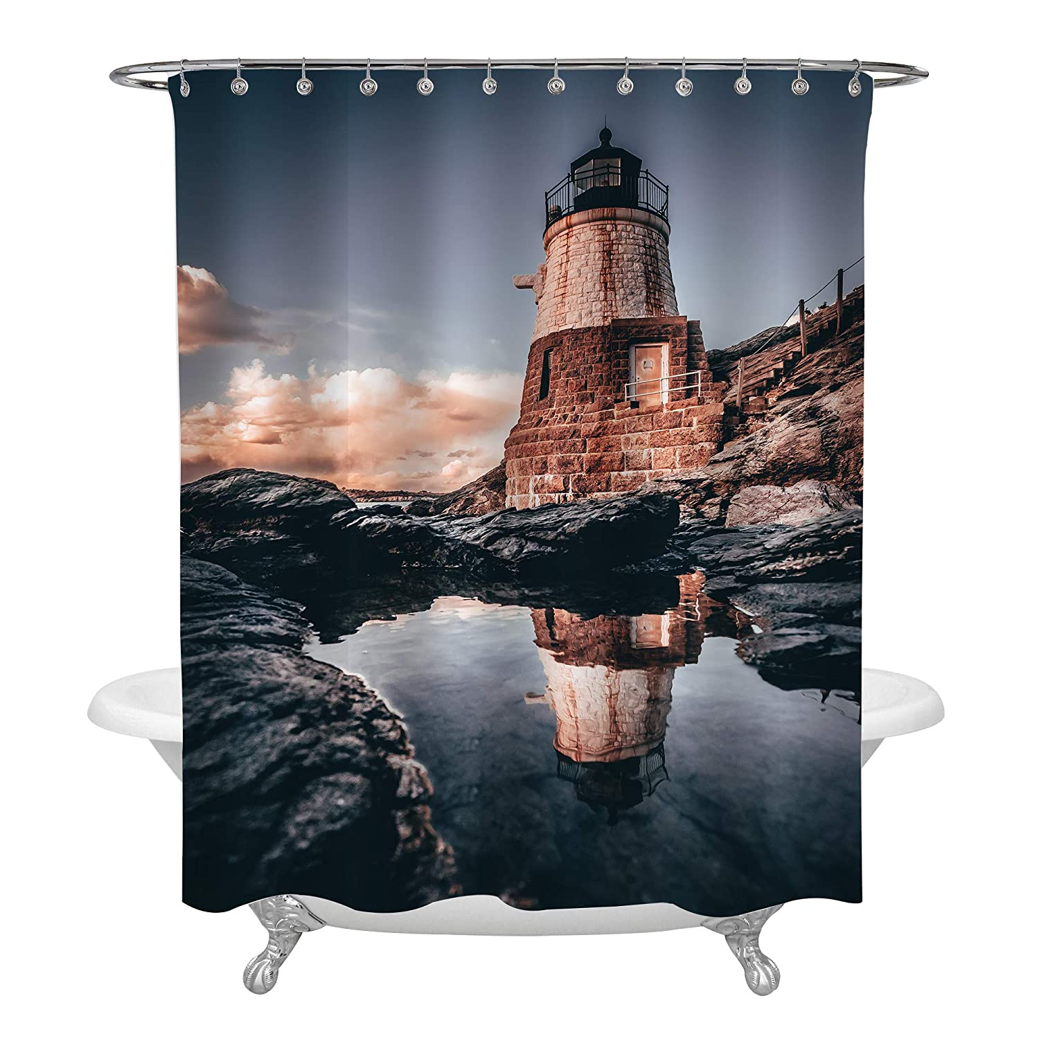 Easy Care 72 in Long Astronomy Party Supplies Galaxy Journey Outer Space Shower Curtain for Teens Children MitoVilla Spaceman Walking on Moon with Earth in Background Picture Room Accessories Set