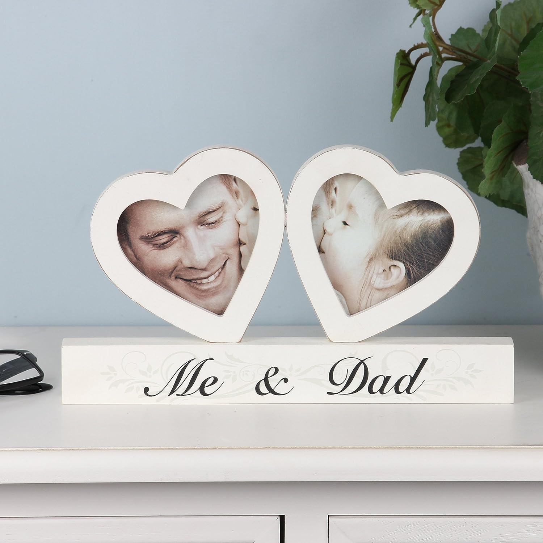 Global Designs Marco de Fotos con dise/ño de coraz/ón de Me and Dad 27 cm de Largo x 15 cm de Alto x 2 cm de Profundidad