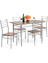 best choice products 5 piece dining set wooden kitchen table metal legs w 4 - Chairs For Kitchen Table