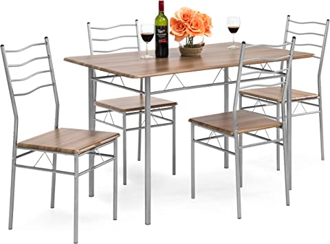 Best Choice Products 5-Piece 4-Foot Modern Wooden Kitchen Table Dining Set  w/Metal Legs, 4 Chairs, Brown/Silver