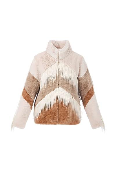 Elisabetta Franchi Eco Pelliccia SmokyBlue - Celeste Tortora e Panna- con  Motivo Geometrico Tg.40  Amazon.it  Abbigliamento a41c1bfb5d06