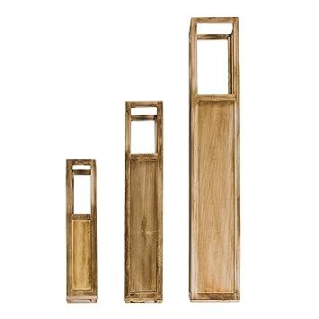 Rebecca Mobili 3er Set Windlichtsäulen Dekolaterne Kerzenhalter Holz