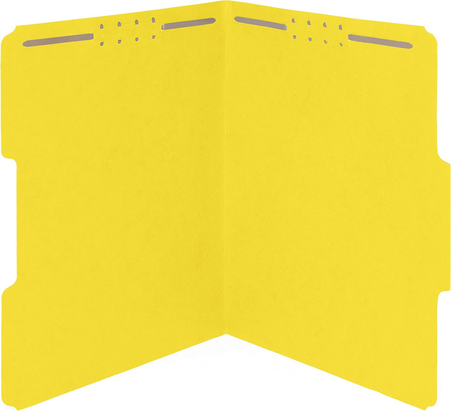 50 Yellow Fastener File Folders - 1/3 Cut Reinforced Tab- Durable 2 Prongs Designed to Organize Standard Medical Files, Law Client Files, Office Reports - Letter Size, Yellow, 50 Pack
